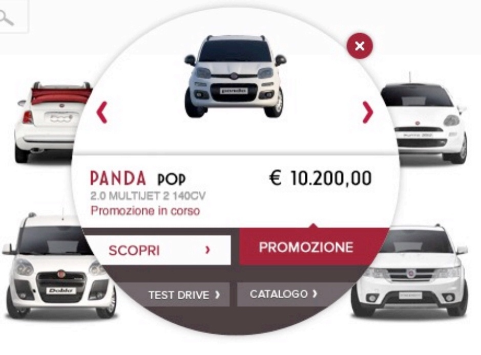 Circle of action, le call to action del sito fiat by domino
